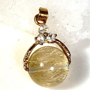 Jewelry - Rutilated quartz crystal titanium pendant sphere